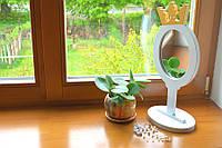 Зеркало деревяное большое на подставке ножке детское с короной именное визажиста