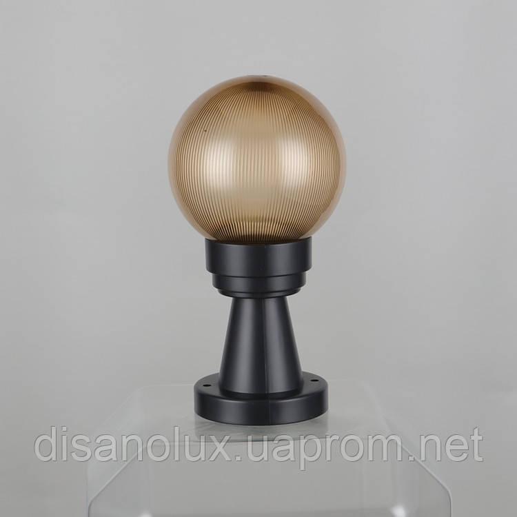 """Світильник вуличний NF30""""Стовпчик"""" 15см і куля φ150 золото призматик IP44"""