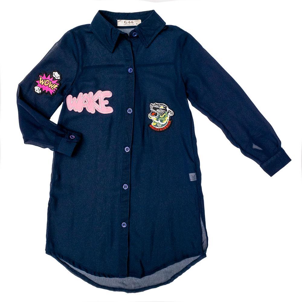 Рубашка для девочек Grasstar 116  синяя J39