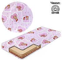 Матрас кокос-поролон-гречка-хлопок 1 Беби-Текс-Мишка, сердечки маленькие 15170 розовый SKL11-221183