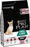 Purina Pro Plan Dog Small&Mini Sensitive Skin 3 кг з лососем сухий корм для дорослих собак дрібних порід