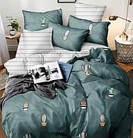 """Двуспальный постельный комплект Бязь голд """"Кактусы в вазоне"""""""