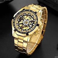 Часы мужские механические с автоподзаводом золотого цвета водонепроницаемие Forsining 8042 Gold-Black