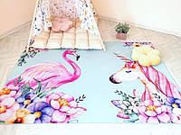 Детский ковер из микрофибры единорог Фламинго зеленый 230*160 см