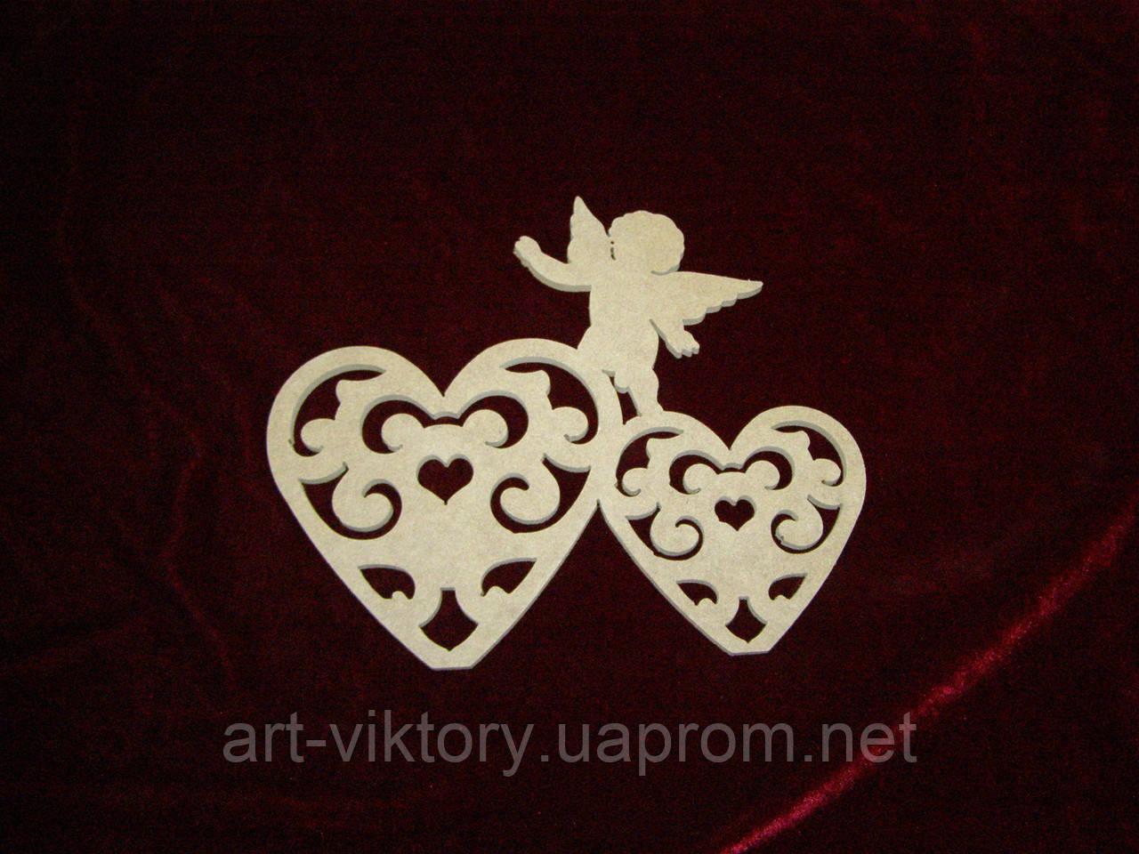 Сердечки резные с ангелом (23 х 20 см), декор