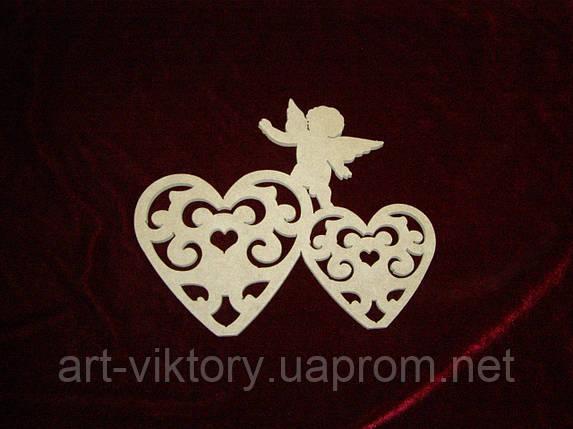 Сердечки резные с ангелом (23 х 20 см), декор, фото 2