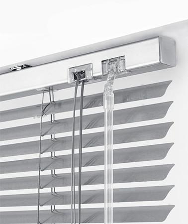 Жалюзи горизонтальные Platogor, 25 мм, классические, алюминиевые, белые, с фиксацией на металл тросе