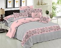 Комплект постельного белья двуспальное евро 200*220 простынь на резинке (14607) бязь Ранфорс