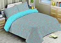 Комплект постельного белья двуспальное евро 200*220 простынь на резинке (14628) бязь Ранфорс