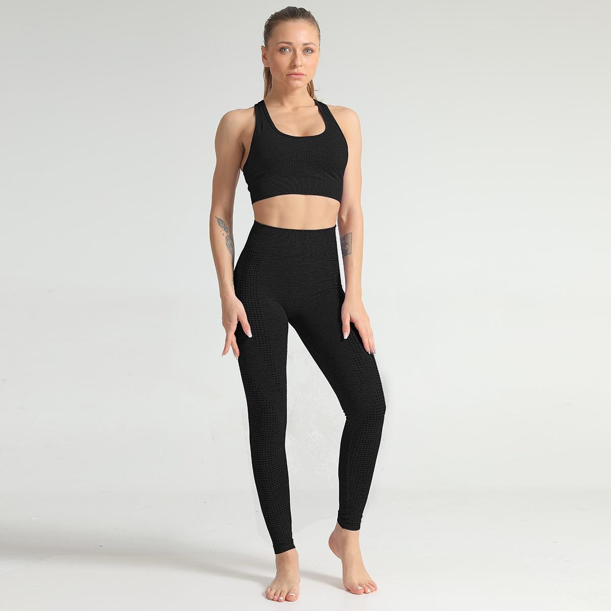 Спортивний костюм жіночий безшовний компресійний для фітнесу. Комплект лосини і топ, розмір M (чорний)