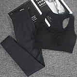 Спортивний костюм жіночий безшовний компресійний для фітнесу. Комплект лосини і топ, розмір M (чорний), фото 3