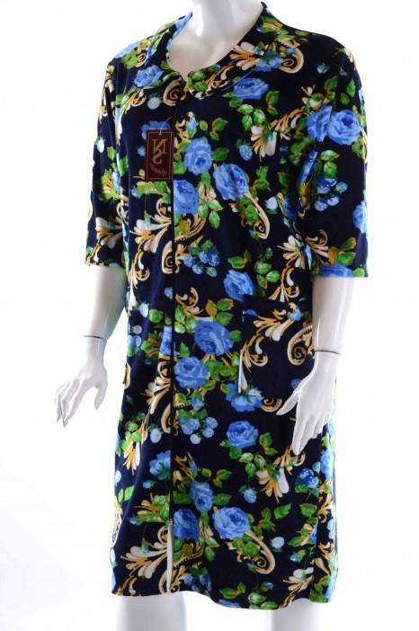 Халат женский велюровый с синими цветами 0RR-350048