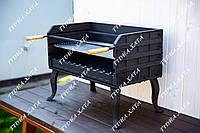 Чугунный разборный мангал 74см. с чугунной решеткой и рамкой для шампуров. BBQ - комплект
