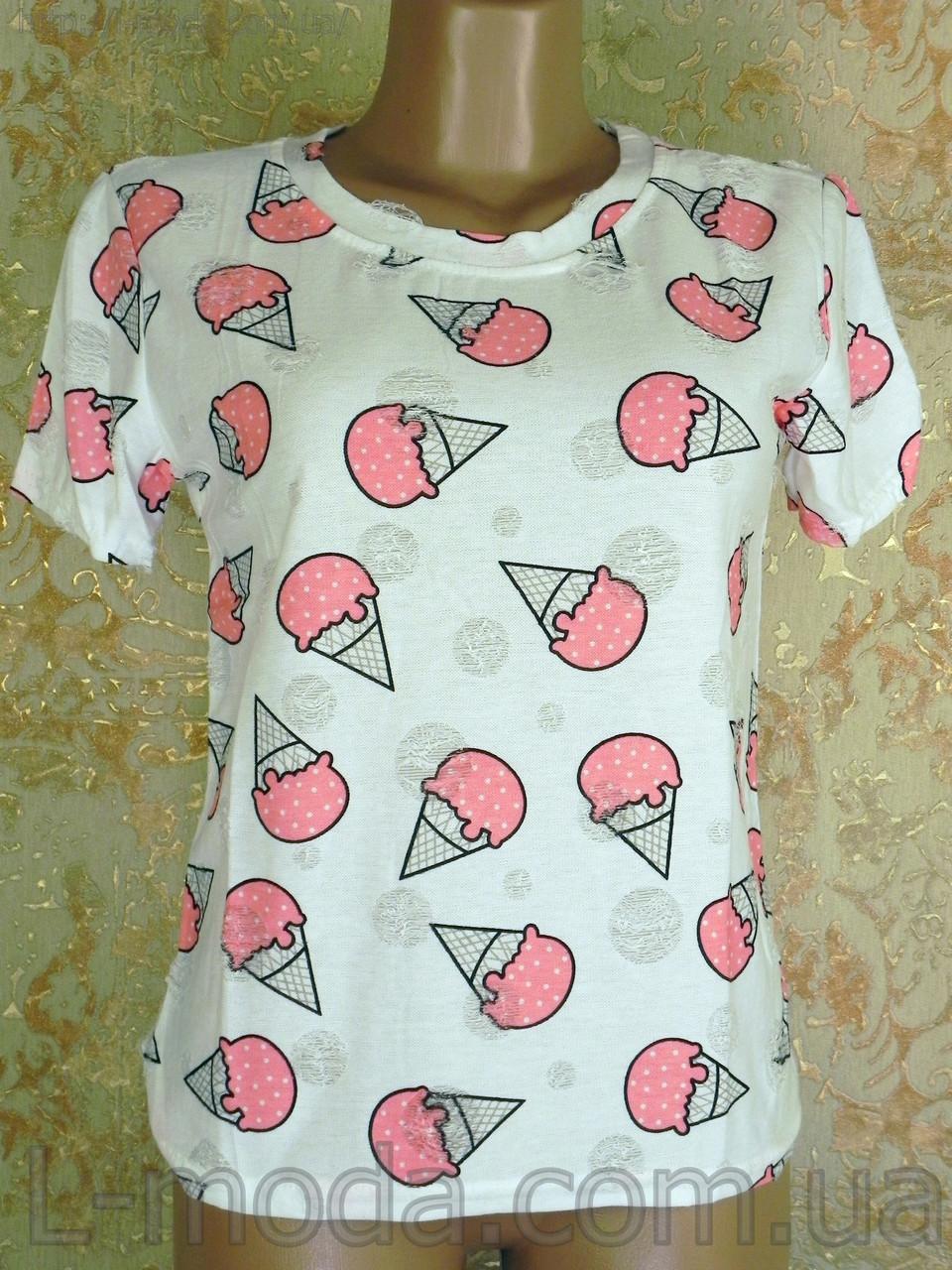 Футболка женская мороженое розовое 0RR-6267