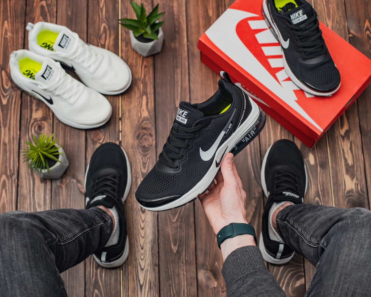 Мужские кроссовки Nike Air Presto AXIS Black-White Реплика