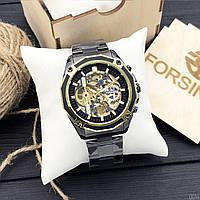 Водонепроницаемые часы мужские механические с автоподзаводом Forsining 8130 Black-Gold