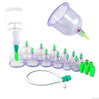 Набор вакуумных банок (12 штук) для массажа от целлюлита для домашней терапии | C насосом | Kang CI, фото 1