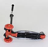 Самокат трехколесный со светящимися колесами черный Best Scooter MAXI , 4 колеса PU, трубка руля алюминий, фото 3