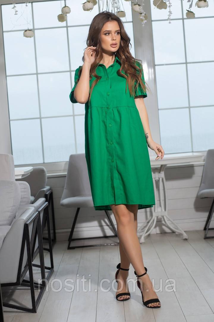 Платье с воротником и коротким рукавом батал Лён