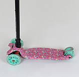 Самокат трехколесный со светящимися колесами малиновый Best Scooter MAXI , 4 колеса PU, трубка руля алюминий, фото 2