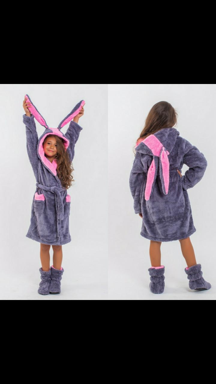 Детский махровый халатик с сапожками на 4-6 лет