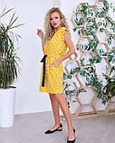 Желтое в горошек приталенное кулиской платье, фото 2