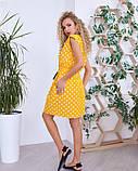 Желтое в горошек приталенное кулиской платье, фото 3