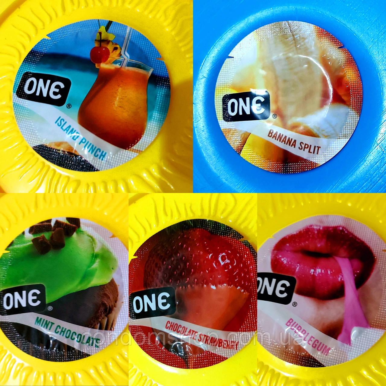 Цветные презервативы со вкусами Премиум сегмента One.Малайзия.1 шт. В ассортименте.Качество Durex.