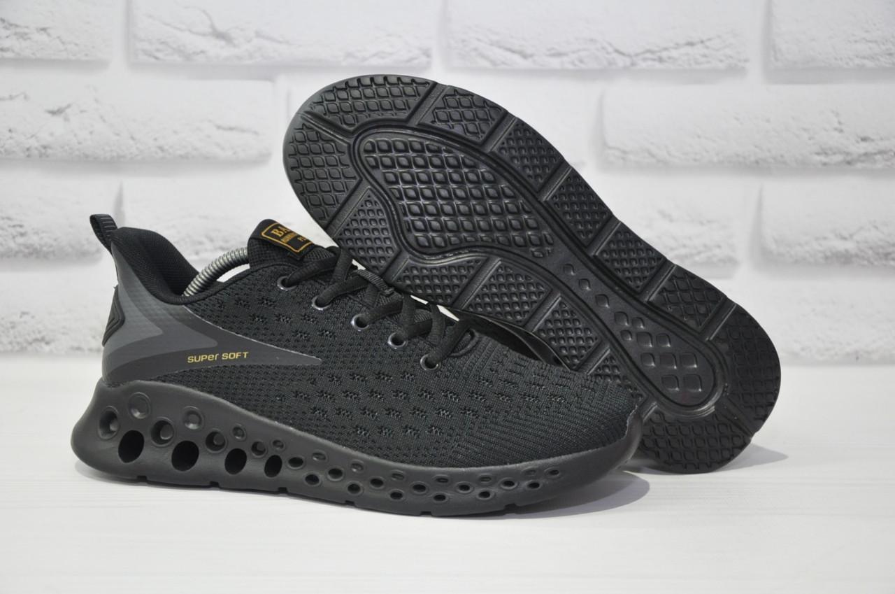 Черные лёгкие мужские кроссовки сетка на черной подошве Baas