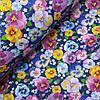 Поплин сорочечный цветы анютины глазки на синем фоне, ш. 150 см