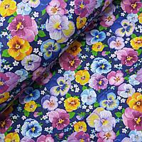 Поплин сорочечный цветы анютины глазки на синем фоне, ш. 150 см, фото 1