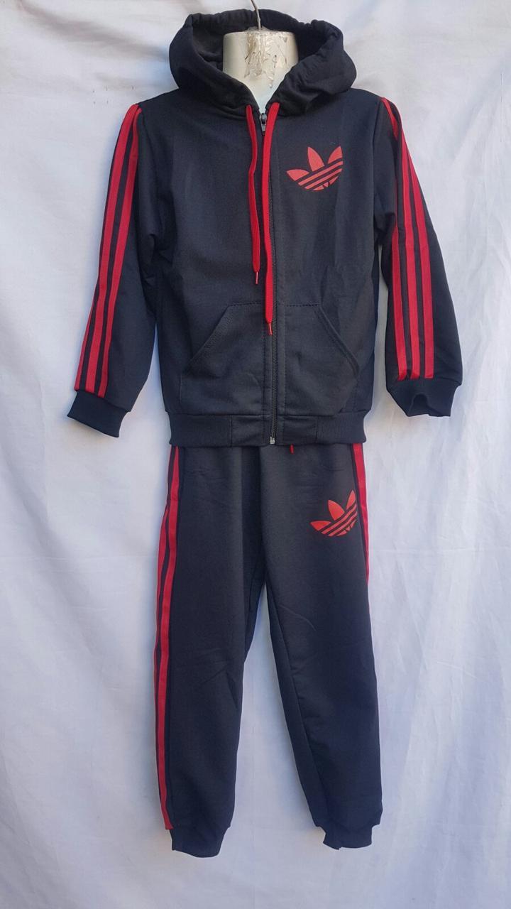 """Спортивный костюм детский """"adidas"""". Размер 7-11.Тёмно-серый с красным. Оптом"""