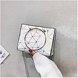 """Женская классическая сумочка с круглыми ручками на цепочке """"ПАУТИНКА"""" серая серебряная, фото 8"""