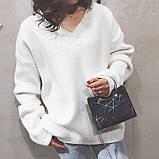 """Женская классическая сумочка с круглыми ручками на цепочке """"ПАУТИНКА"""" серая серебряная, фото 7"""