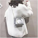 """Женская классическая сумочка с круглыми ручками на цепочке """"ПАУТИНКА"""" серая серебряная, фото 2"""