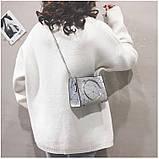 """Женская классическая сумочка с круглыми ручками на цепочке """"ПАУТИНКА"""" серая серебряная, фото 3"""