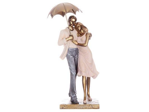 Статуэтка Lefard Пара под зонтом 28 см 192-039 влюбленные парень и девушка фигурка, фото 2