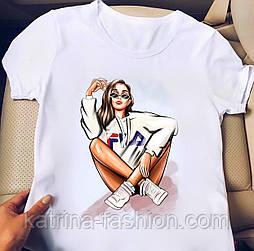 Женская стильная белая футболка с рисунками (разные рисунки)
