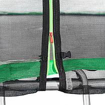 Батут Atleto 404 см з подвійними ногами з сіткою зелений (2 місця), фото 2