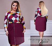 С1805 Женское комбинированное платье большого размера  бордо/ бордовое/ бордового/марсала цвета