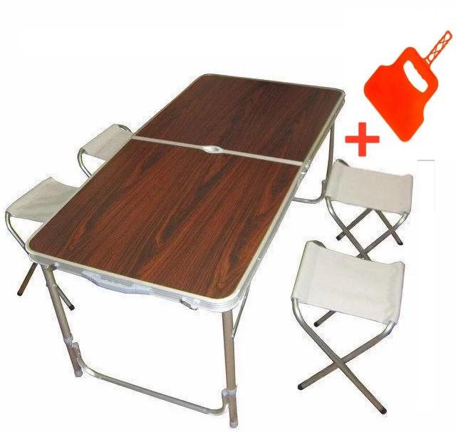Стол для пикника + 4 стула Folding Table Раскладной стол чемодан 120х60х55/60/70 см