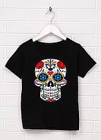 Летняя женская футболка черного цвета Череп