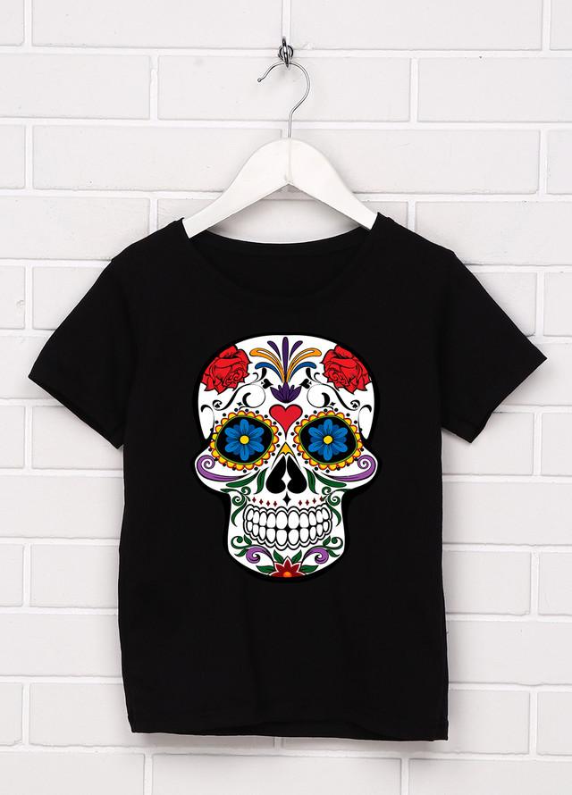 купить женскую черную футболку с красивым черепом