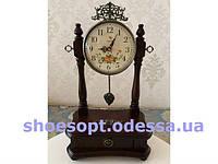 Настільні годинники класичні на підставці металеві чорні з гілочками