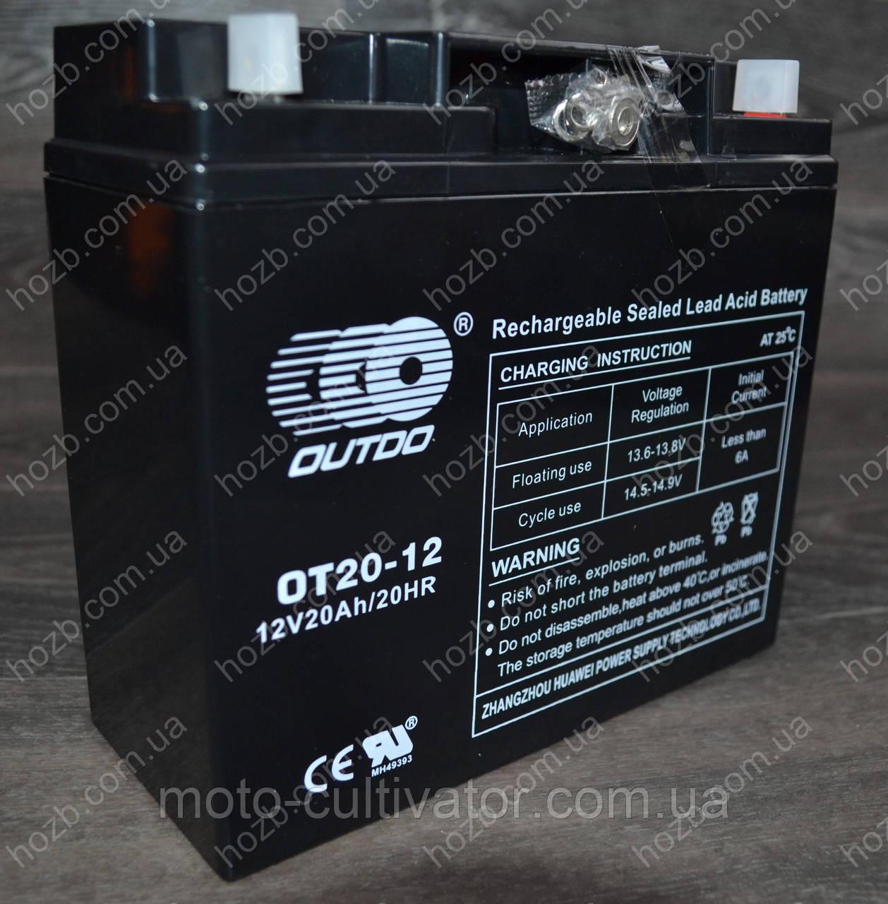 Аккумулятор 12V 20Аh гелиевый (180x75x160, черный, mod:(ОТ-20-12) OUTDO