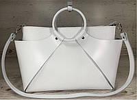 11-3  Натуральная кожа Сумка женская белая Кожаная сумка женская формат А4 Сумка из натуральной кожи белая А-4