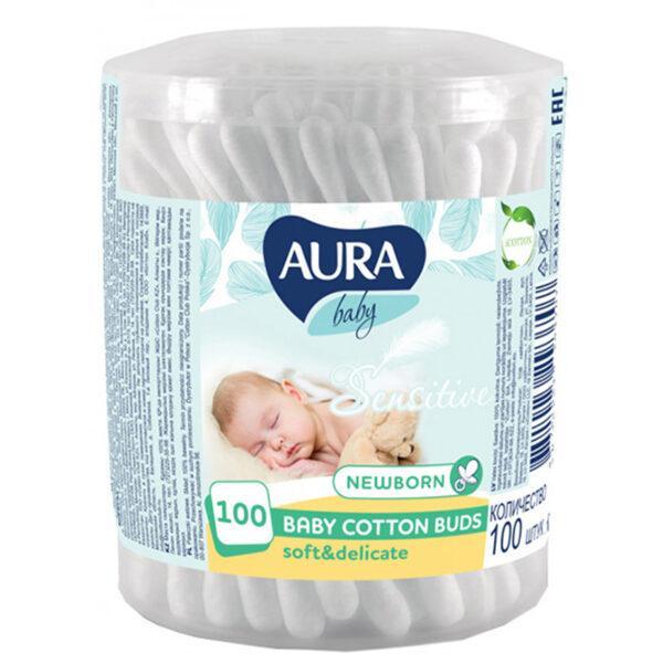 Ватные палочки детские Cotton Club Aura Beauty 100 шт (гипоаллергенные)