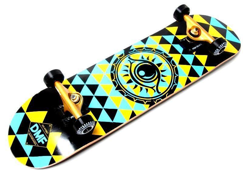 """Скейтборд деревянный Fish """"Tri"""" оригинал, матовый алюминиевый подвес"""