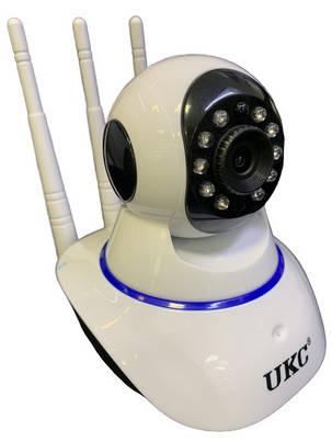 Беспроводная WIFI поворотная камера 3 антены UKC 1080P YY 2.0 HD WiFi белая, фото 2