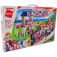 Конструктор Qman «Вокзал. Счастливый поезд» для девочек, 4 фигурки, 690 деталей, 6+ (2015)